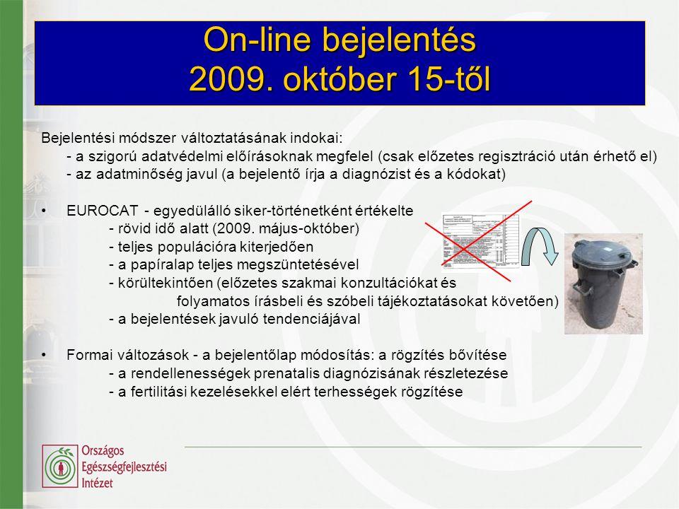 On-line bejelentés 2009. október 15-től Bejelentési módszer változtatásának indokai: - a szigorú adatvédelmi előírásoknak megfelel (csak előzetes regi