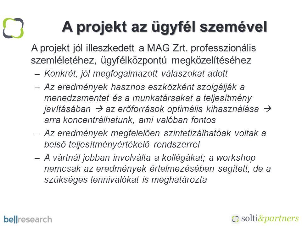 A projekt az ügyfél szemével A projekt jól illeszkedett a MAG Zrt.