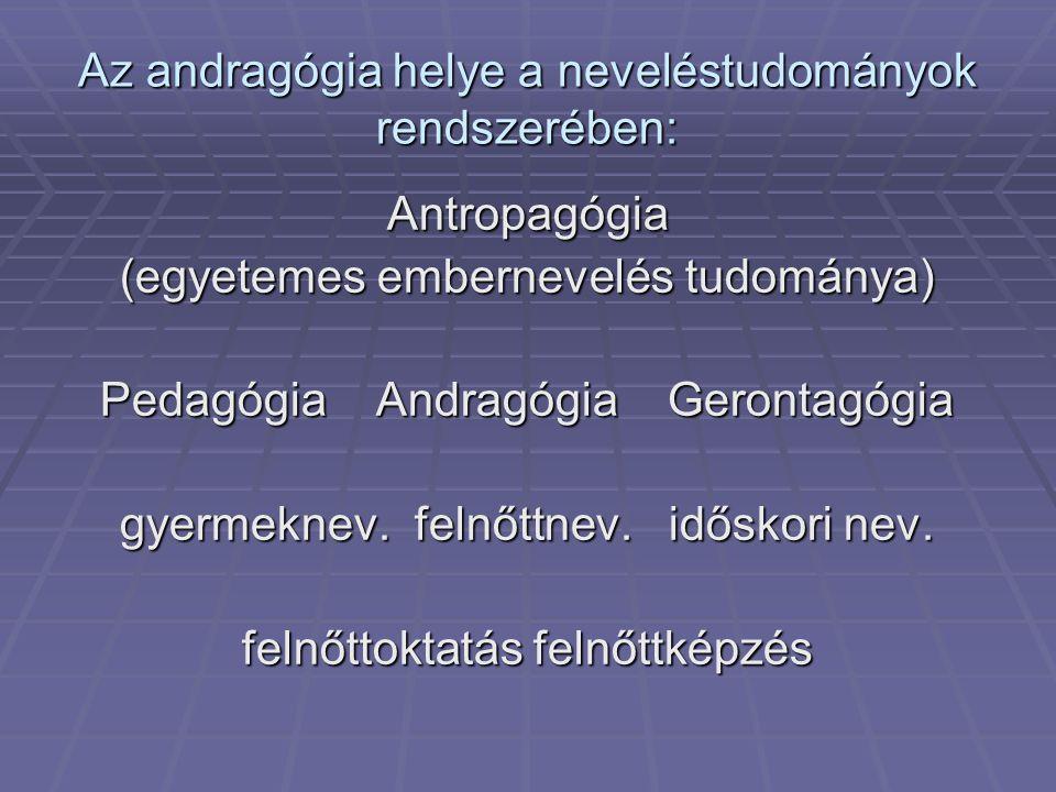 Az andragógia helye a neveléstudományok rendszerében: Antropagógia (egyetemes embernevelés tudománya) Pedagógia Andragógia Gerontagógia gyermeknev. fe