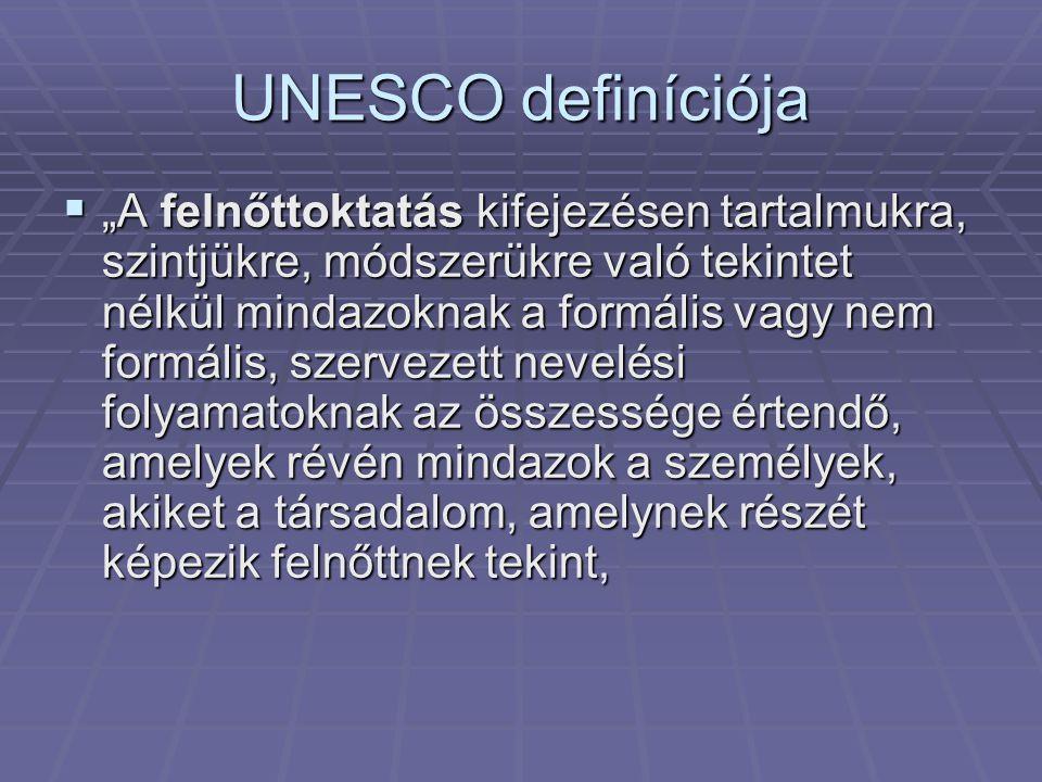 """UNESCO definíciója  """"A felnőttoktatás kifejezésen tartalmukra, szintjükre, módszerükre való tekintet nélkül mindazoknak a formális vagy nem formális,"""