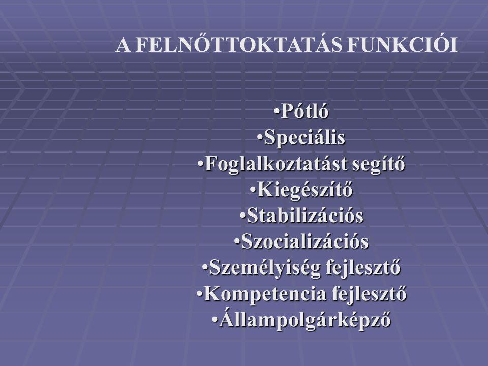 •Pótló •Speciális •Foglalkoztatást segítő •Kiegészítő •Stabilizációs •Szocializációs •Személyiség fejlesztő •Kompetencia fejlesztő •Állampolgárképző A