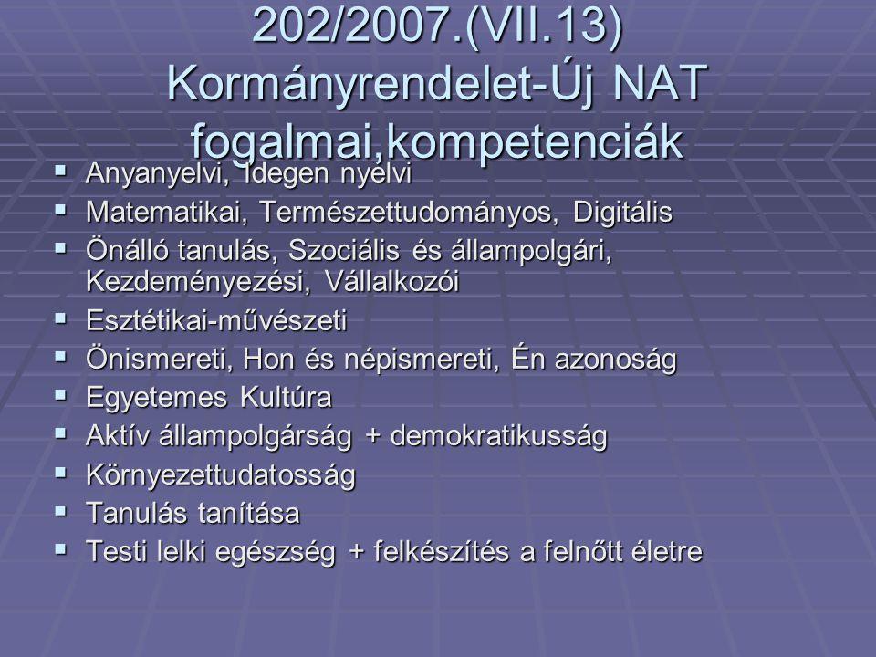 202/2007.(VII.13) Kormányrendelet-Új NAT fogalmai,kompetenciák  Anyanyelvi, Idegen nyelvi  Matematikai, Természettudományos, Digitális  Önálló tanu