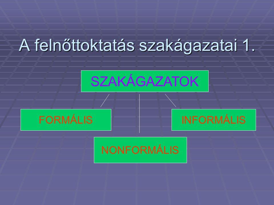 •Pótló •Speciális •Foglalkoztatást segítő •Kiegészítő •Stabilizációs •Szocializációs •Személyiség fejlesztő •Kompetencia fejlesztő •Állampolgárképző A FELNŐTTOKTATÁS FUNKCIÓI