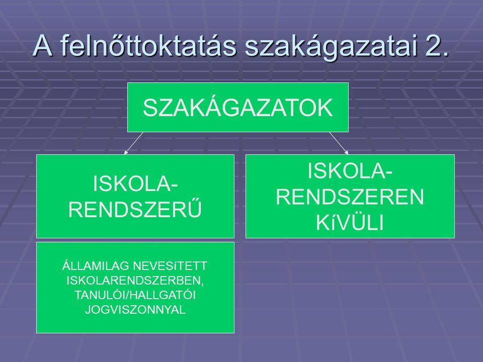 A felnőttoktatás szakágazatai 2. ISKOLA- RENDSZERŰ ISKOLA- RENDSZEREN KíVÜLI SZAKÁGAZATOK ÁLLAMILAG NEVESíTETT ISKOLARENDSZERBEN, TANULÓI/HALLGATÓI JO
