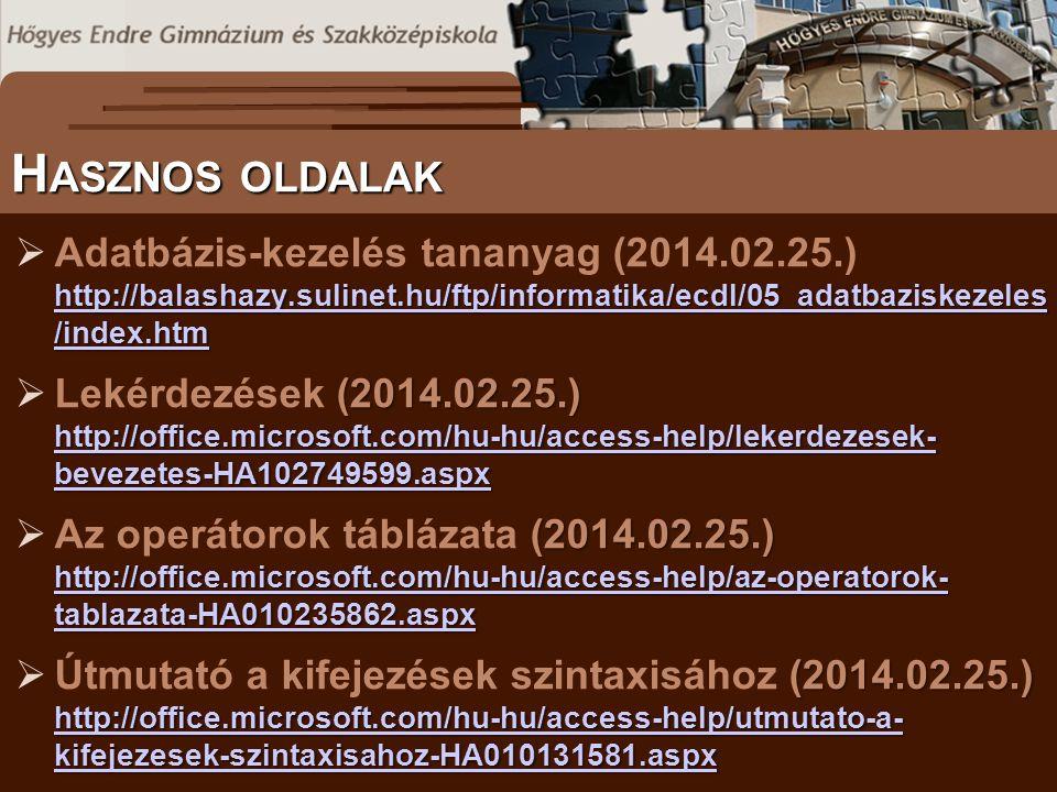 S ZÖVEGES DOKUMENTUMOK ELŐFORDULÁSA H ASZNOS OLDALAK http://balashazy.sulinet.hu/ftp/informatika/ecdl/05_adatbaziskezeles /index.htm http://balashazy.