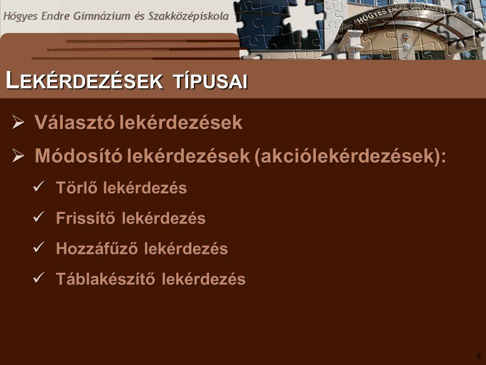 S ZÖVEGES DOKUMENTUMOK ELŐFORDULÁSA P ARAMÉTERES LEKÉRDEZÉSEK II.