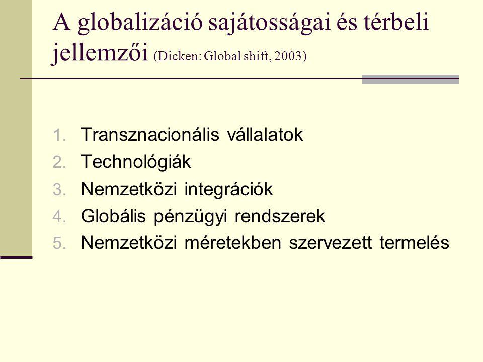 A globalizáció sajátosságai és térbeli jellemzői (Dicken: Global shift, 2003) 1.