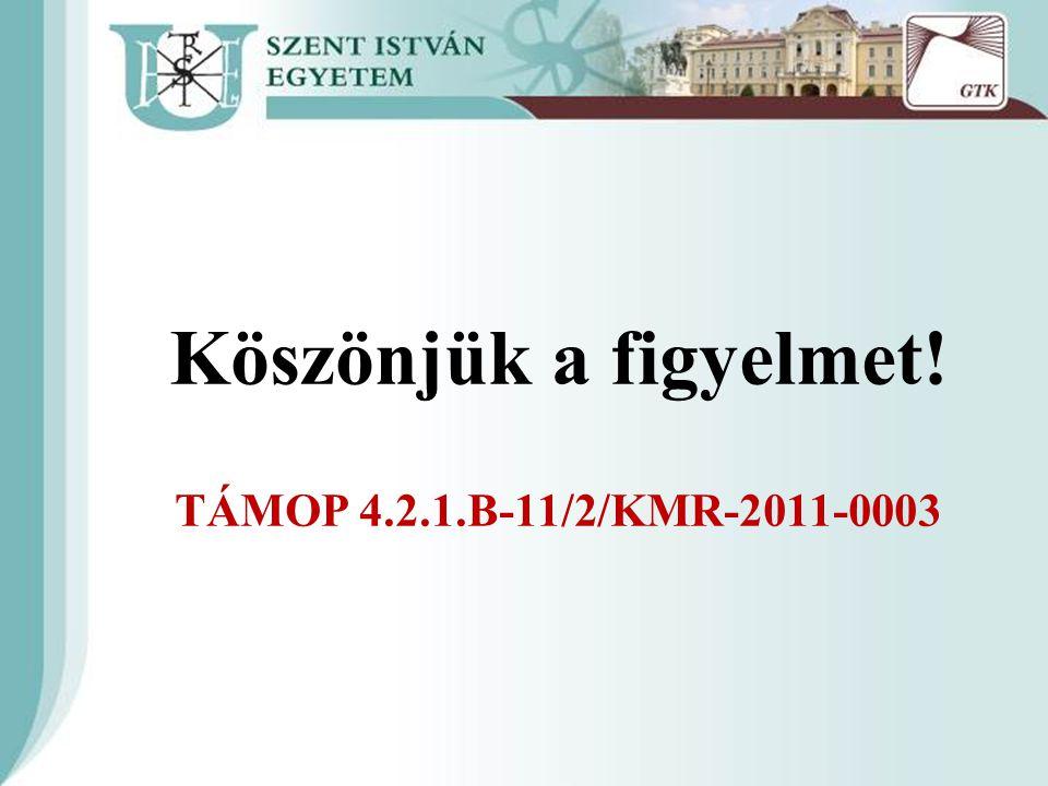 Köszönjük a figyelmet! TÁMOP 4.2.1.B-11/2/KMR-2011-0003