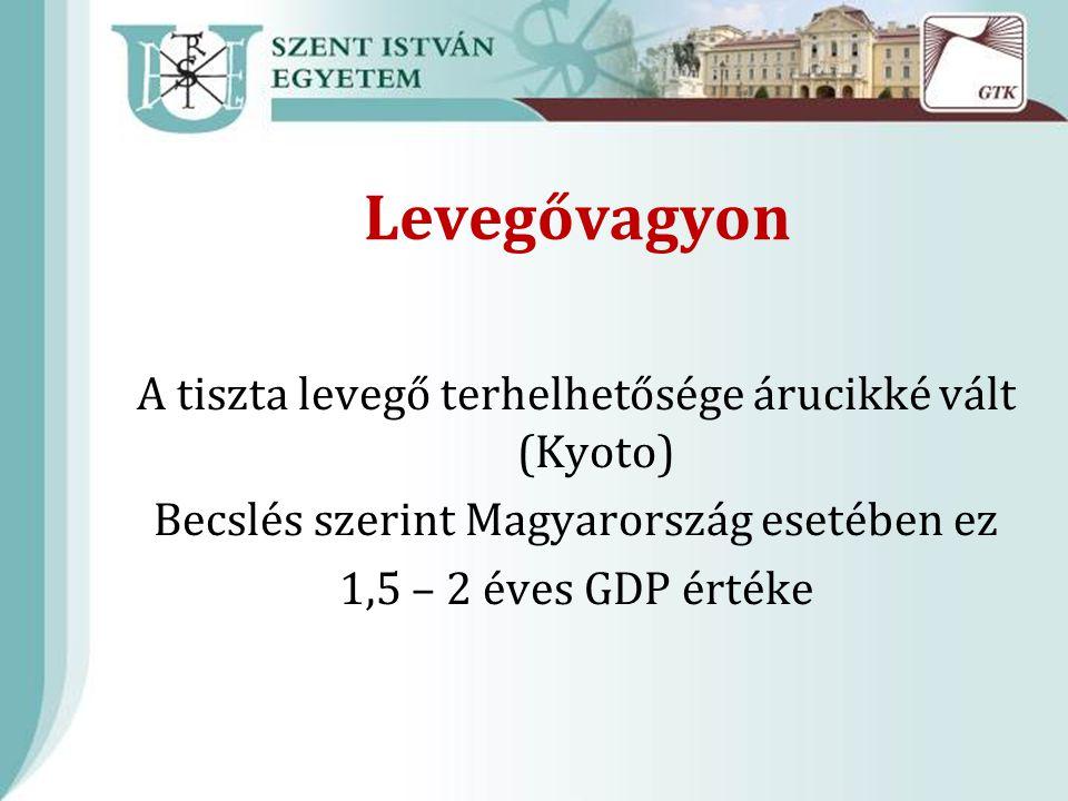 Levegővagyon A tiszta levegő terhelhetősége árucikké vált (Kyoto) Becslés szerint Magyarország esetében ez 1,5 – 2 éves GDP értéke