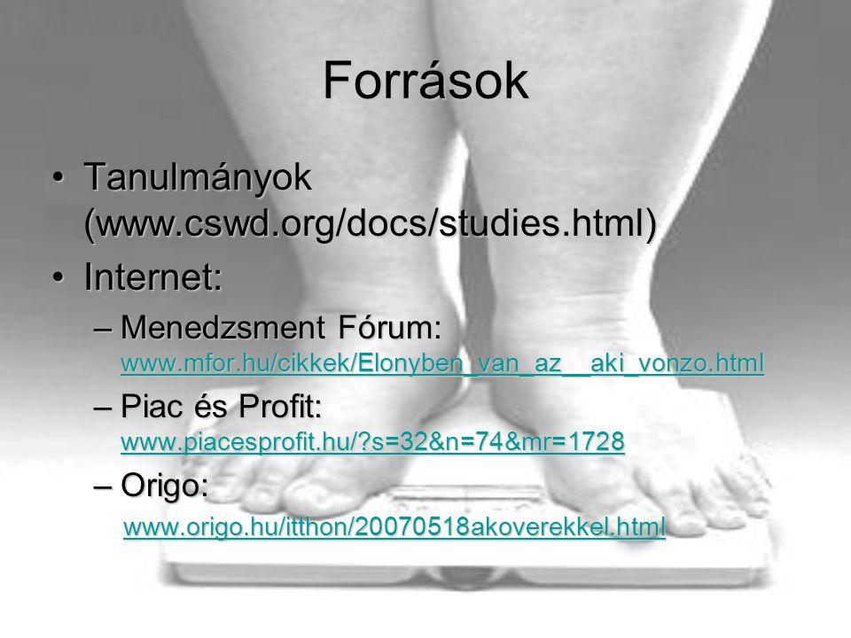 Források •Tanulmányok (www.cswd.org/docs/studies.html) •Internet: –Menedzsment Fórum: www.mfor.hu/cikkek/Elonyben_van_az__aki_vonzo.html www.mfor.hu/cikkek/Elonyben_van_az__aki_vonzo.html –Piac és Profit: www.piacesprofit.hu/?s=32&n=74&mr=1728 www.piacesprofit.hu/?s=32&n=74&mr=1728 –Origo: www.origo.hu/itthon/20070518akoverekkel.html www.origo.hu/itthon/20070518akoverekkel.htmlwww.origo.hu/itthon/20070518akoverekkel.html