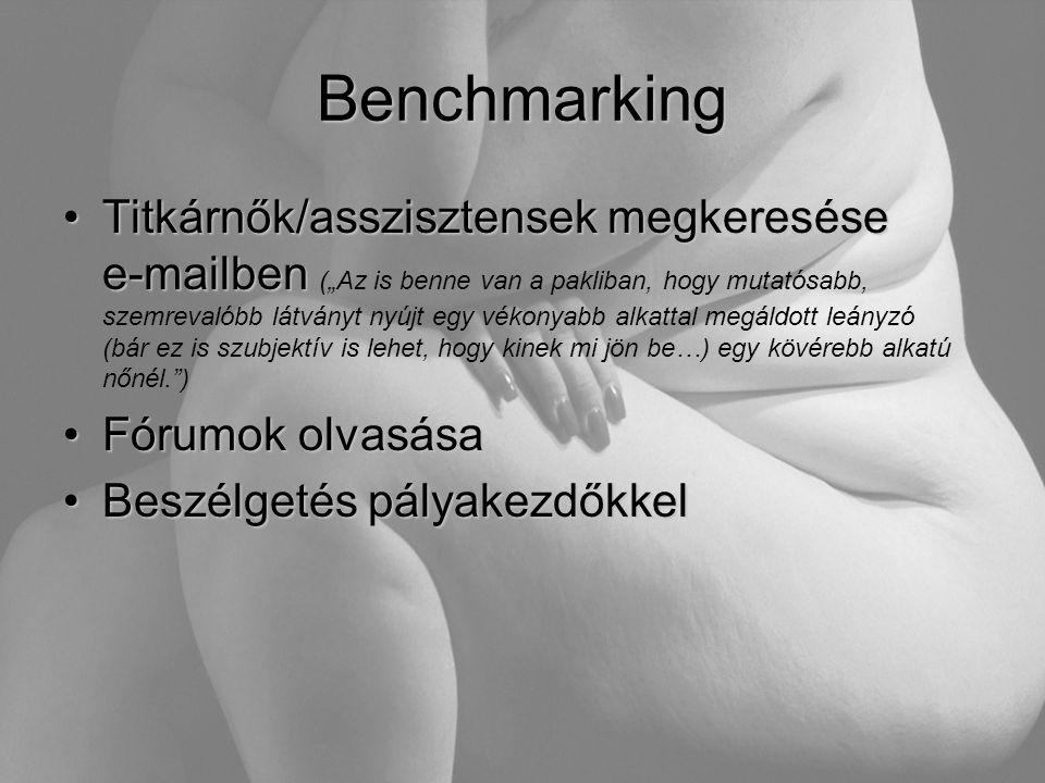 """Benchmarking •Titkárnők/asszisztensek megkeresése e-mailben •Titkárnők/asszisztensek megkeresése e-mailben (""""Az is benne van a pakliban, hogy mutatósa"""