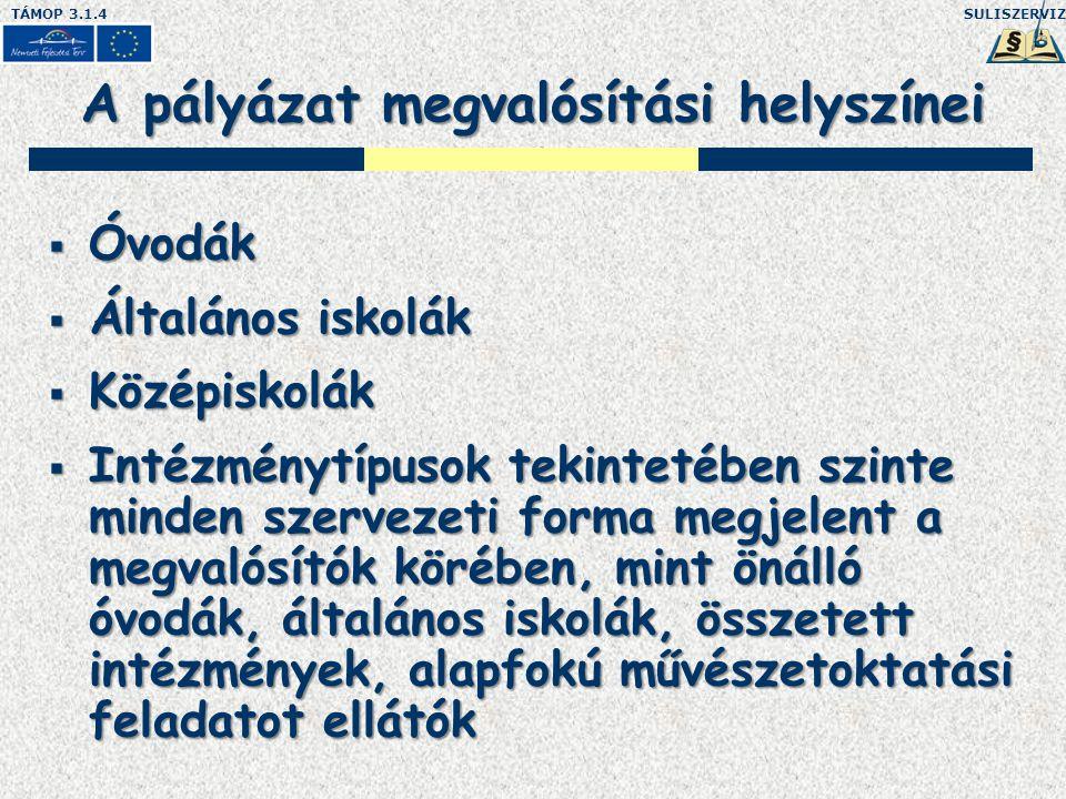 SULISZERVIZTÁMOP 3.1.4 A pályázat megvalósítási helyszínei  Óvodák  Általános iskolák  Középiskolák  Intézménytípusok tekintetében szinte minden szervezeti forma megjelent a megvalósítók körében, mint önálló óvodák, általános iskolák, összetett intézmények, alapfokú művészetoktatási feladatot ellátók