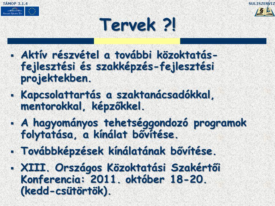 SULISZERVIZTÁMOP 3.1.4 Tervek ?.