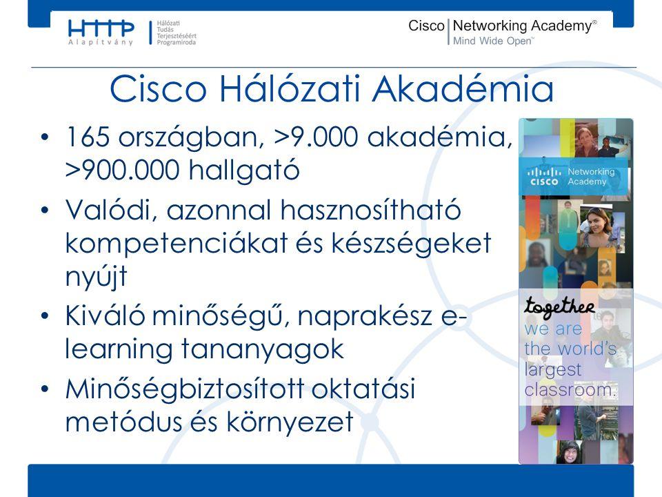 Cisco Hálózati Akadémia • 165 országban, >9.000 akadémia, >900.000 hallgató • Valódi, azonnal hasznosítható kompetenciákat és készségeket nyújt • Kivá