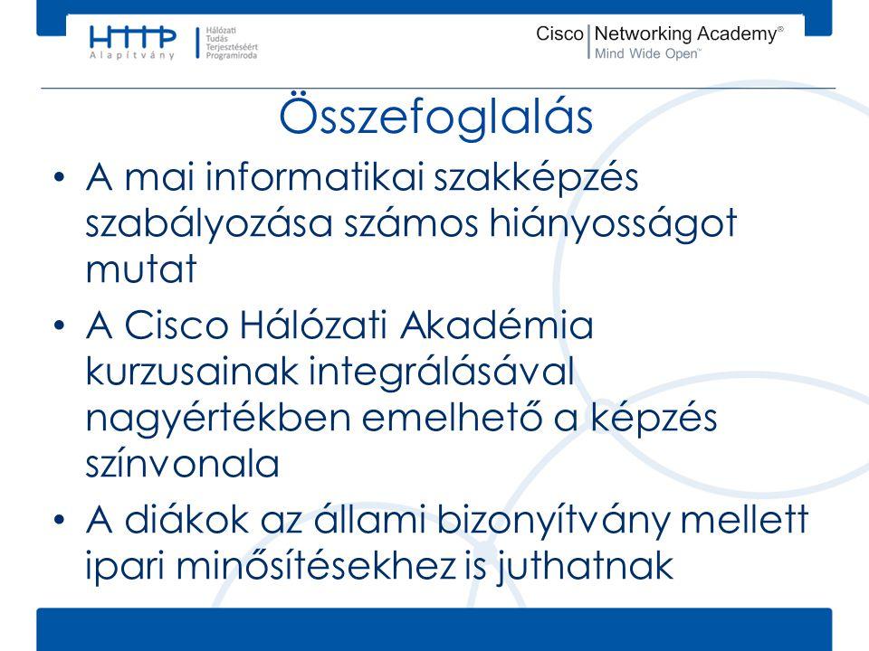 Összefoglalás • A mai informatikai szakképzés szabályozása számos hiányosságot mutat • A Cisco Hálózati Akadémia kurzusainak integrálásával nagyértékb