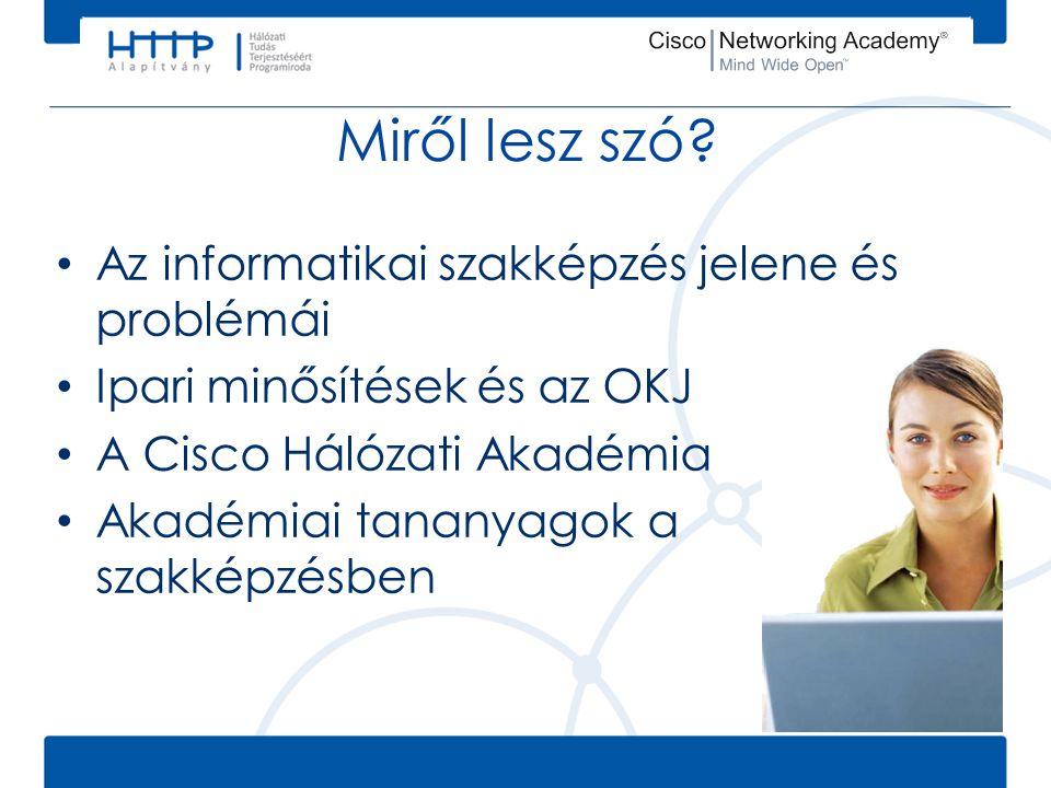 Miről lesz szó? • Az informatikai szakképzés jelene és problémái • Ipari minősítések és az OKJ • A Cisco Hálózati Akadémia • Akadémiai tananyagok a sz