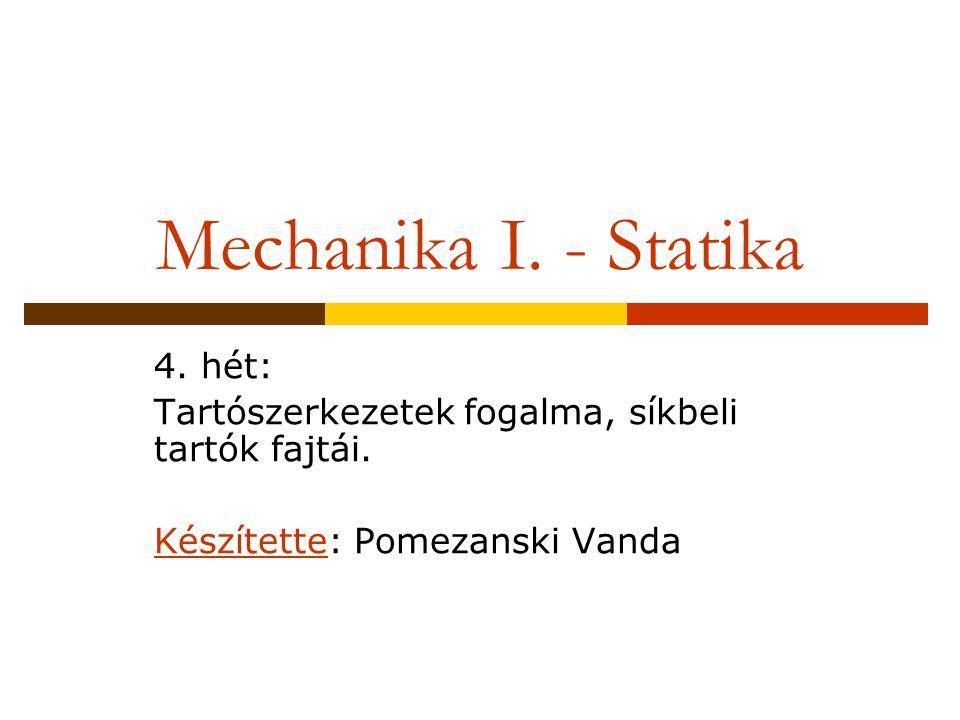 Mechanika I. - Statika 4. hét: Tartószerkezetek fogalma, síkbeli tartók fajtái. Készítette: Pomezanski Vanda