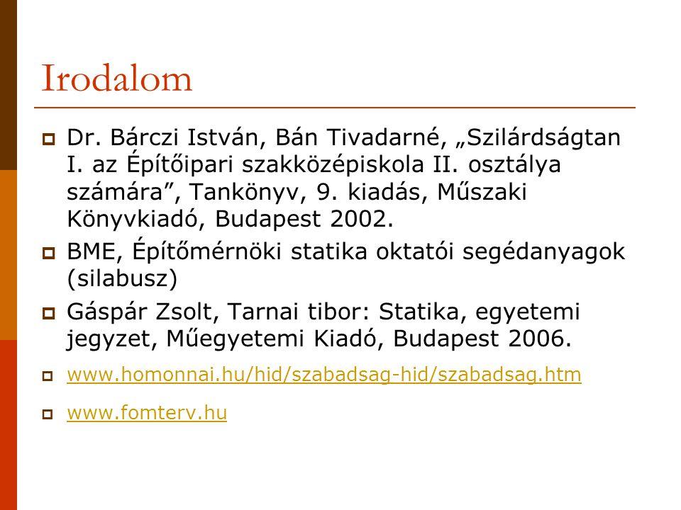 """Irodalom  Dr. Bárczi István, Bán Tivadarné, """"Szilárdságtan I. az Építőipari szakközépiskola II. osztálya számára"""", Tankönyv, 9. kiadás, Műszaki Könyv"""