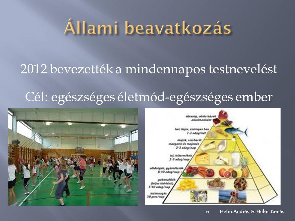 2012 bevezették a mindennapos testnevelést Cél: egészséges életmód-egészséges ember