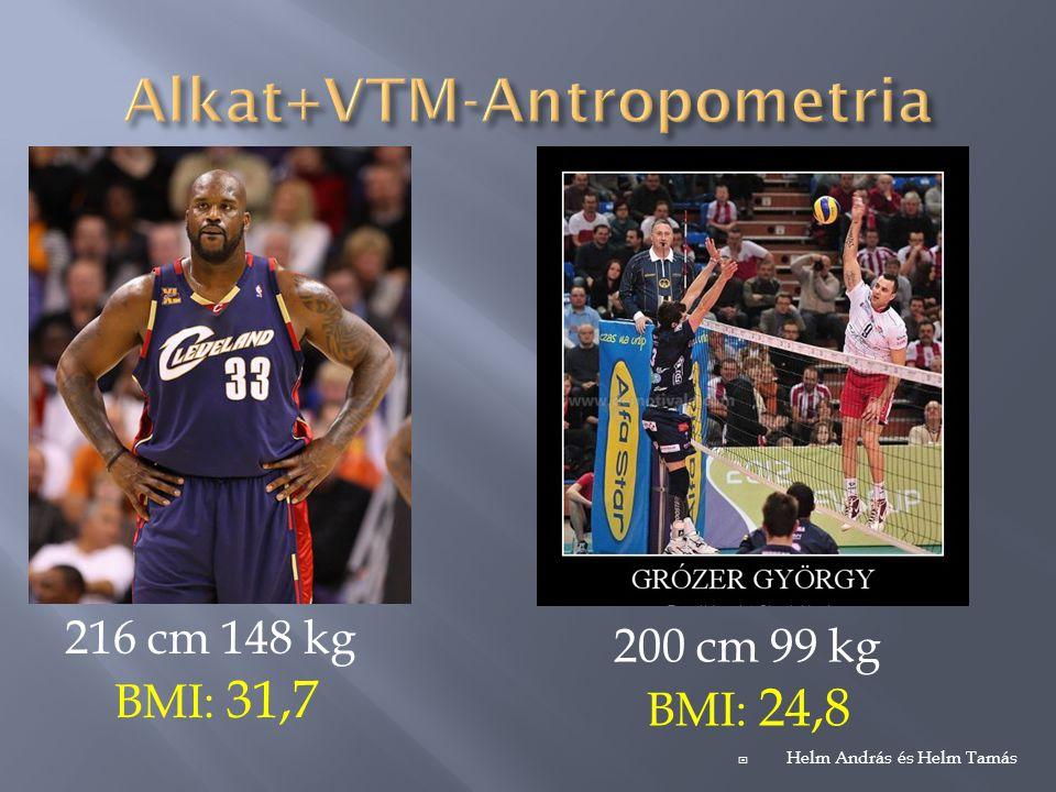 Hadfi Dániel 189 cm 100 kg Stefano Baldini 176 cm 62 kg Rakonczai Beáta 170cm 56 kg BMI: 31,7 túlsúlyos  Helm András és Helm Tamás