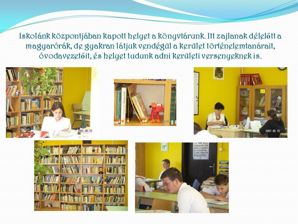 Iskolánk központjában kapott helyet a könyvtárunk. Itt zajlanak délel ő tt a magyarórák, de gyakran látjuk vendégül a kerület történelemtanárait, óvod