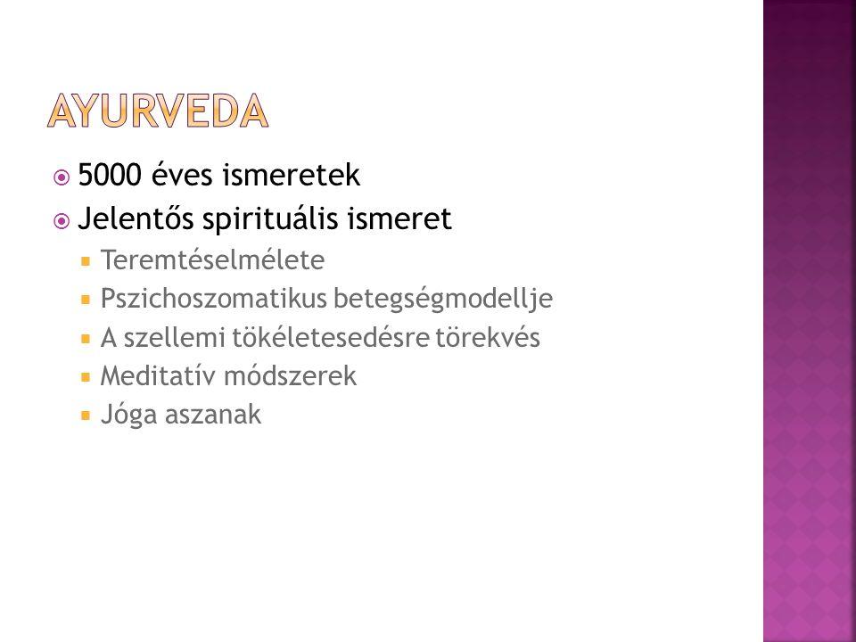  5000 éves ismeretek  Jelentős spirituális ismeret  Teremtéselmélete  Pszichoszomatikus betegségmodellje  A szellemi tökéletesedésre törekvés  M