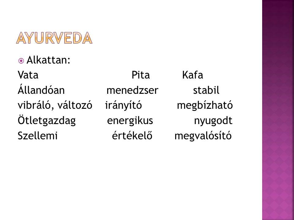  Hyperaktivitás  Vata túlsúly (felel a mozgásért)  Figyelmetlenség  Pita hiány (felel a feldolgozásért)  Szétszórtság  Vata túlsúly