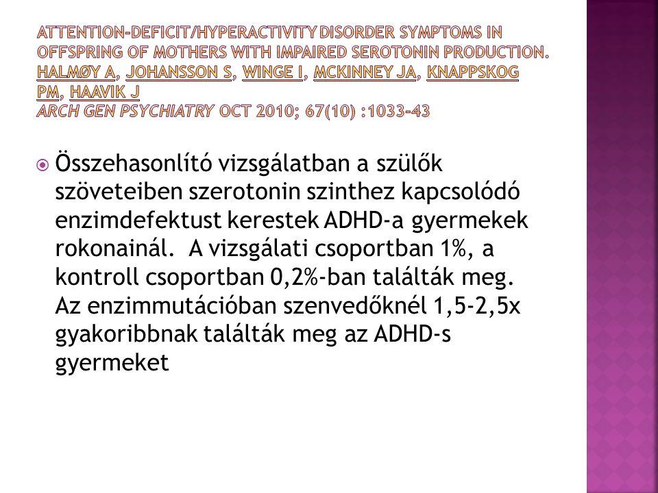  Összehasonlító vizsgálatban a szülők szöveteiben szerotonin szinthez kapcsolódó enzimdefektust kerestek ADHD-a gyermekek rokonainál. A vizsgálati cs