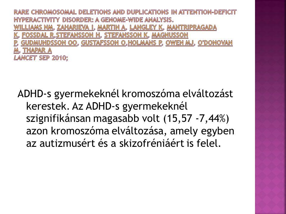 ADHD-s gyermekeknél kromoszóma elváltozást kerestek. Az ADHD-s gyermekeknél szignifikánsan magasabb volt (15,57 -7,44%) azon kromoszóma elváltozása, a