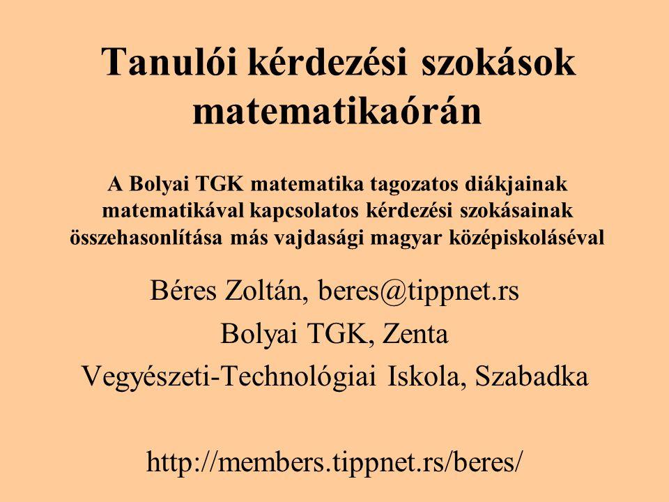 Tanulói kérdezési szokások matematikaórán A Bolyai TGK matematika tagozatos diákjainak matematikával kapcsolatos kérdezési szokásainak összehasonlítása más vajdasági magyar középiskoláséval Béres Zoltán, beres@tippnet.rs Bolyai TGK, Zenta Vegyészeti-Technológiai Iskola, Szabadka http://members.tippnet.rs/beres/