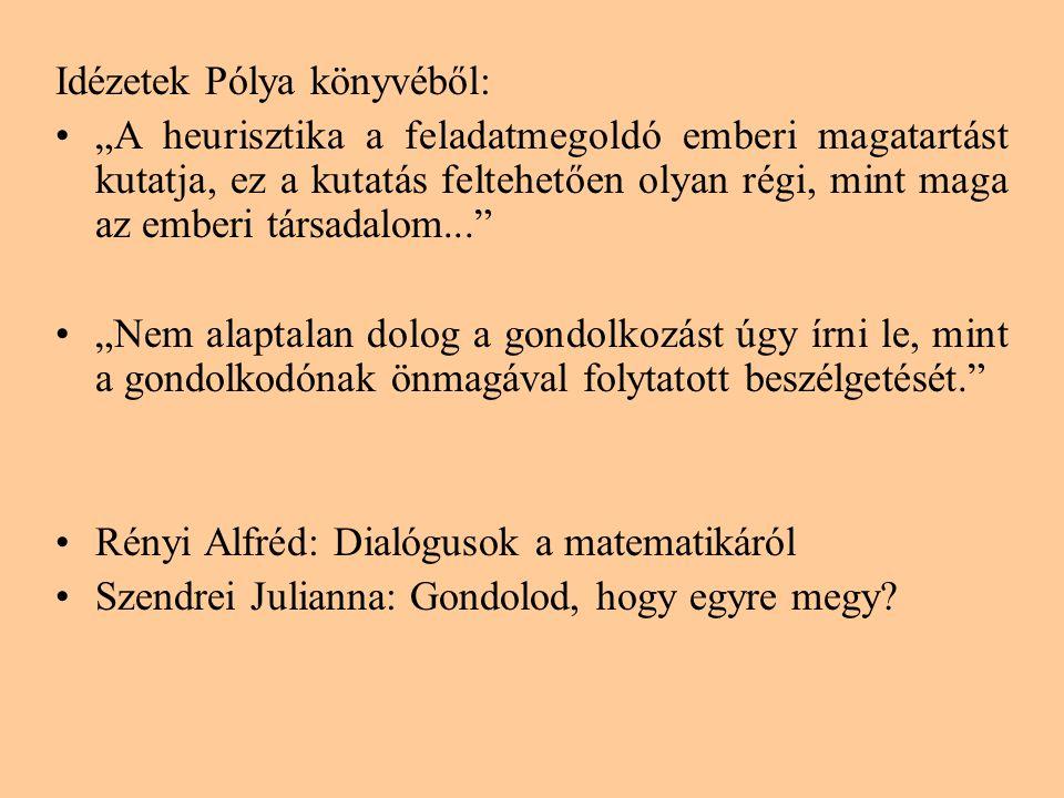 """Idézetek Pólya könyvéből: •""""A heurisztika a feladatmegoldó emberi magatartást kutatja, ez a kutatás feltehetően olyan régi, mint maga az emberi társadalom... •""""Nem alaptalan dolog a gondolkozást úgy írni le, mint a gondolkodónak önmagával folytatott beszélgetését. •Rényi Alfréd: Dialógusok a matematikáról •Szendrei Julianna: Gondolod, hogy egyre megy?"""