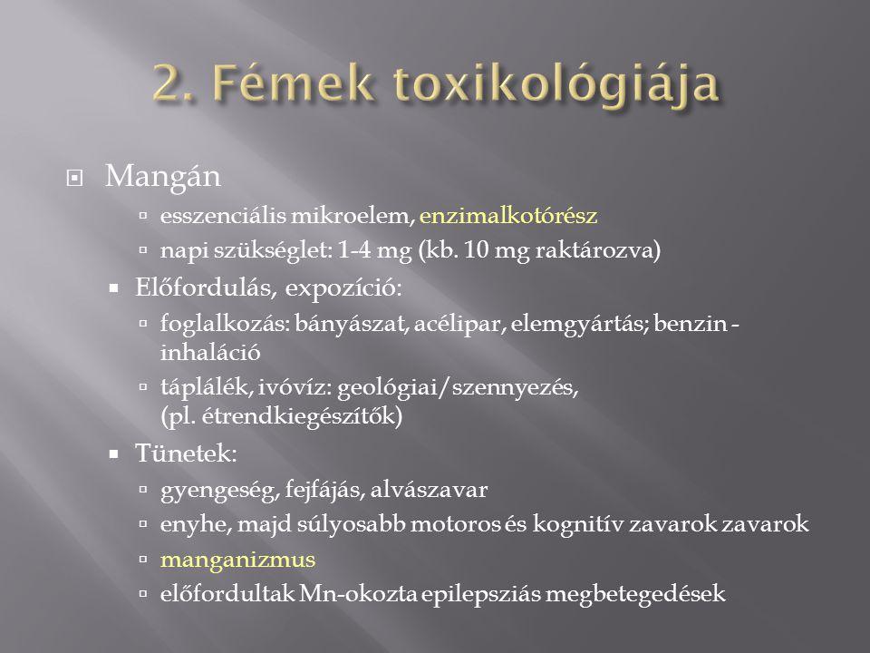  Mangán  esszenciális mikroelem, enzimalkotórész  napi szükséglet: 1-4 mg (kb.