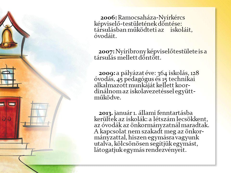 2006: Ramocsaháza-Nyírkércs képviselő-testületének döntése: társulásban működteti az iskoláit, óvodáit. 2007: Nyíribrony képviselőtestülete is a társu