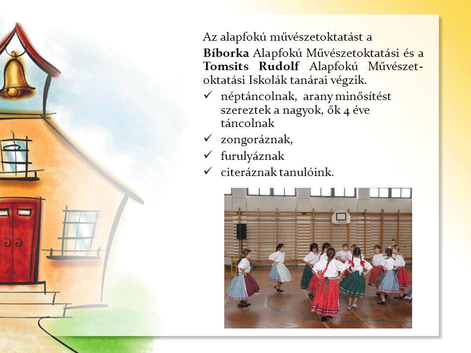 Az alapfokú művészetoktatást a Bíborka Alapfokú Művészetoktatási és a Tomsits Rudolf Alapfokú Művészet- oktatási Iskolák tanárai végzik.  néptáncolna
