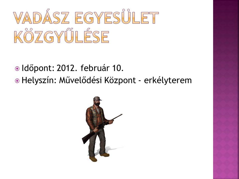  Időpont: 2012. február 10.  Helyszín: Művelődési Központ - erkélyterem