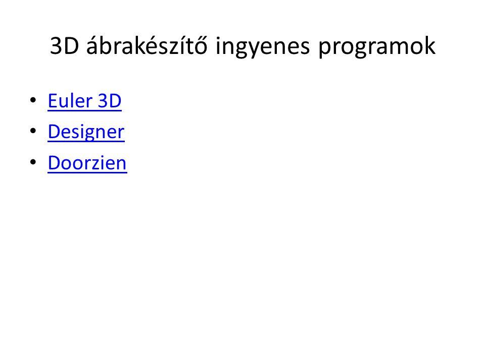 3D ábrakészítő ingyenes programok • Euler 3D Euler 3D • Designer Designer • Doorzien Doorzien