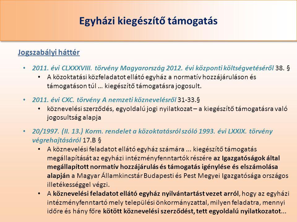 Egyházi kiegészítő támogatás • 2011. évi CLXXXVIII. törvény Magyarország 2012. évi központi költségvetéséről 38. § • A közoktatási közfeladatot ellátó