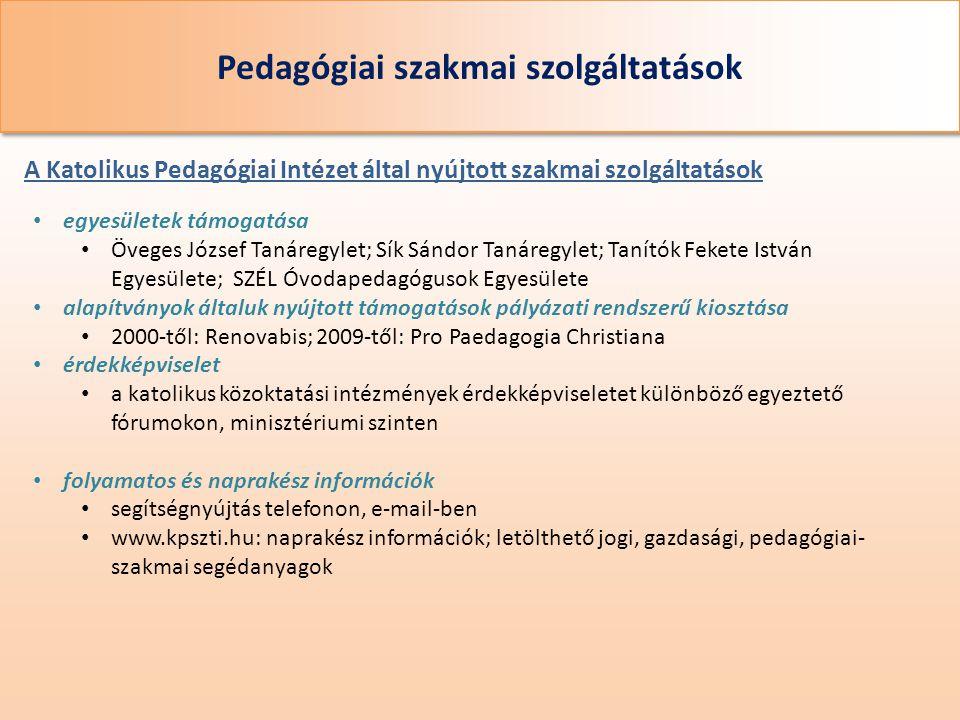 Pedagógiai szakmai szolgáltatások A Katolikus Pedagógiai Intézet által nyújtott szakmai szolgáltatások • egyesületek támogatása • Öveges József Tanáre