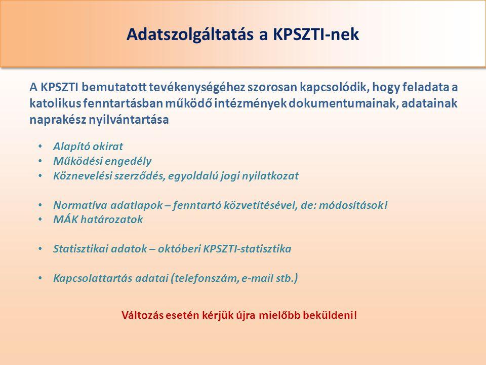 Adatszolgáltatás a KPSZTI-nek A KPSZTI bemutatott tevékenységéhez szorosan kapcsolódik, hogy feladata a katolikus fenntartásban működő intézmények dok