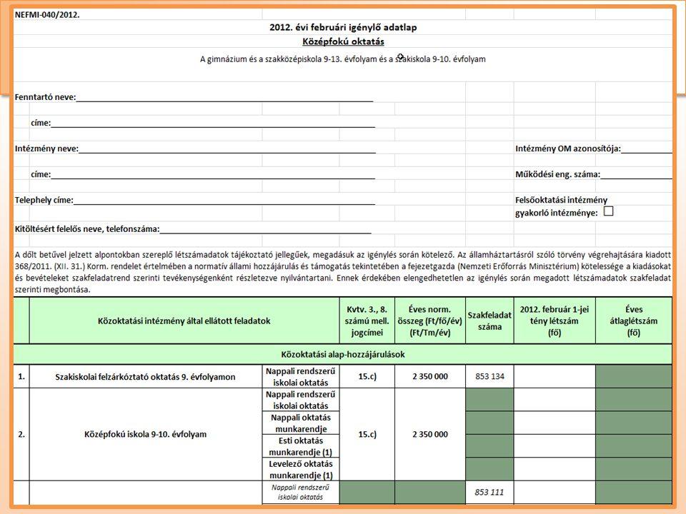 Normatív hozzájárulás és támogatás • Igénylési adatlapok • intézményi adatlapok: intézménytípusonként, feladatellátási-helyenként (EMMI 20-30-40-50-60