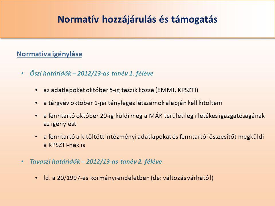 Normatív hozzájárulás és támogatás • Őszi határidők – 2012/13-as tanév 1. féléve • az adatlapokat október 5-ig teszik közzé (EMMI, KPSZTI) • a tárgyév