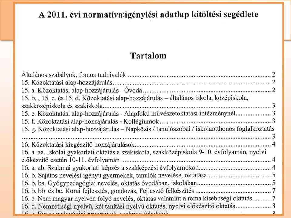 Normatív hozzájárulás és támogatás • Segédanyag a KPSZTI honlapján (www.kpszti.hu) Normatíva igénylés és elszámolás szabályai