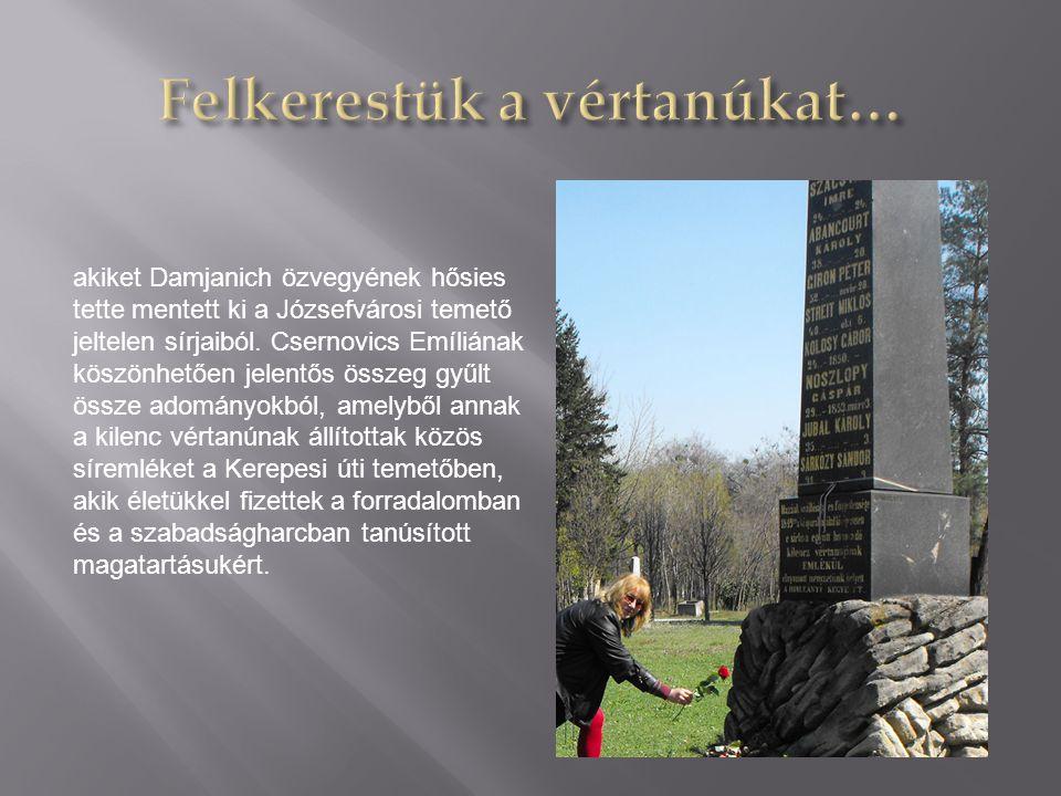 akiket Damjanich özvegyének hősies tette mentett ki a Józsefvárosi temető jeltelen sírjaiból.