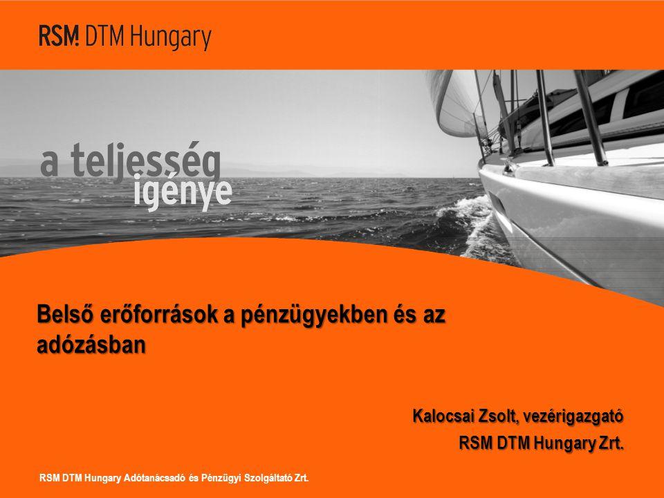 RSM DTM Hungary Adótanácsadó és Pénzügyi Szolgáltató Zrt. Belső erőforrások a pénzügyekben és az adózásban Kalocsai Zsolt, vezérigazgató RSM DTM Hunga