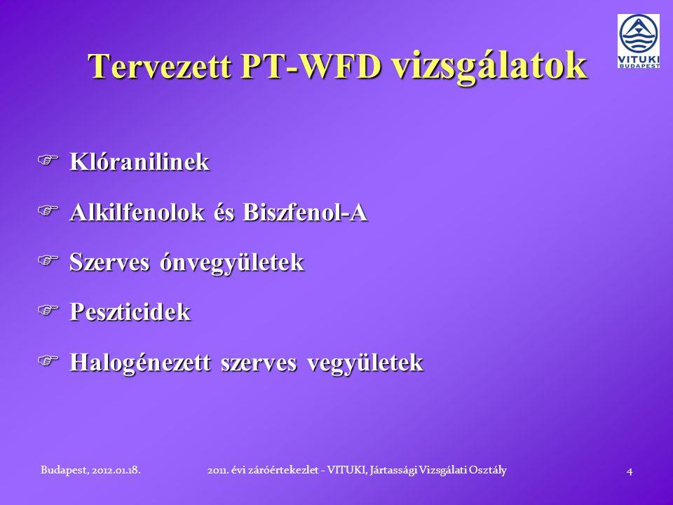 Tervezett PT-WFD vizsgálatok 4  Klóranilinek  Alkilfenolok és Biszfenol-A  Szerves ónvegyületek  Peszticidek  Halogénezett szerves vegyületek Budapest, 2012.01.18.2011.