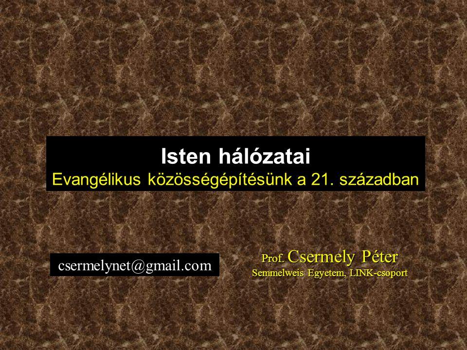 Prof. Csermely Péter Semmelweis Egyetem, LINK-csoport Isten hálózatai Evangélikus közösségépítésünk a 21. században csermelynet@gmail.com