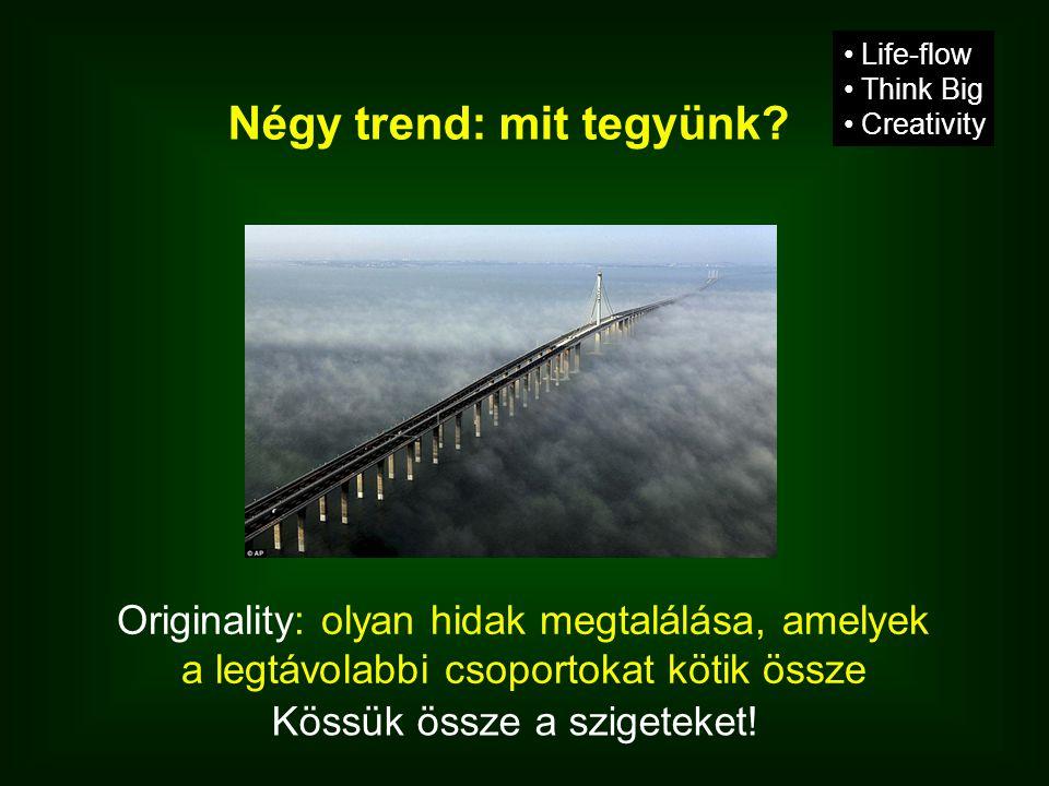 Négy trend: mit tegyünk? Originality: olyan hidak megtalálása, amelyek a legtávolabbi csoportokat kötik össze • Life-flow • Think Big • Creativity Kös