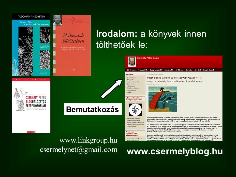 www.csermelyblog.hu Bemutatkozás Irodalom: a könyvek innen tölthetőek le: www.linkgroup.hu csermelynet@gmail.com