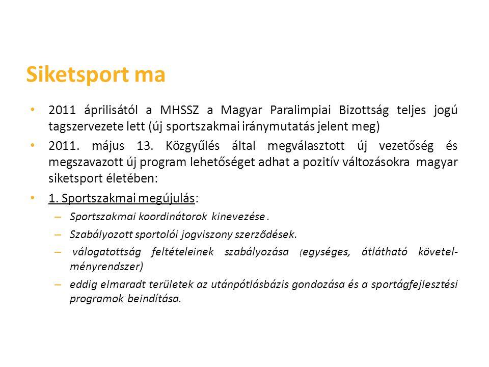 • 2011 áprilisától a MHSSZ a Magyar Paralimpiai Bizottság teljes jogú tagszervezete lett (új sportszakmai iránymutatás jelent meg) • 2011. május 13. K