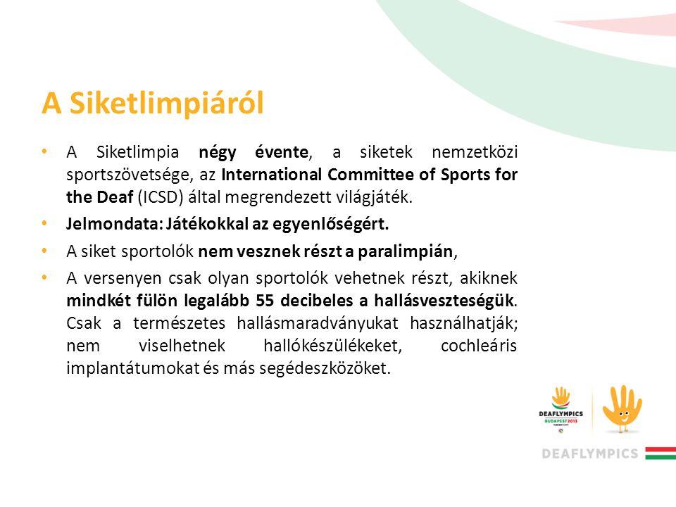 A Siketlimpiáról • A Siketlimpia négy évente, a siketek nemzetközi sportszövetsége, az International Committee of Sports for the Deaf (ICSD) által meg